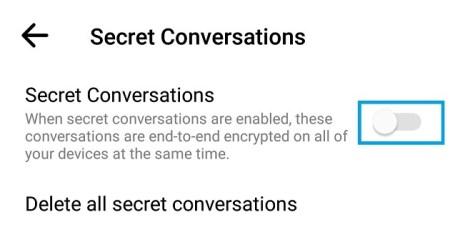 toggel on secret converstion in messenger