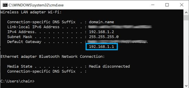 default gateway of modem