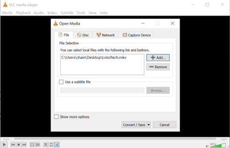 click on Add to select video to compress in VLC