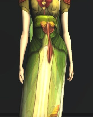 Short-sleeved Dress of the Moth - front, middle close up