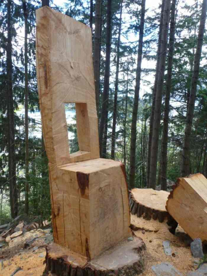Chairs sawn from fallen trees