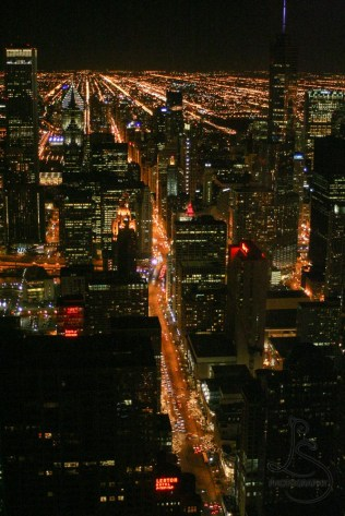 Nighttime Chicago city from atop the Hancock Tower | LotsaSmiles Photography