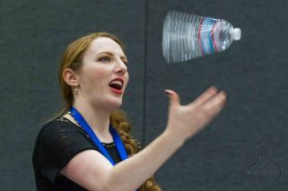 Caitlin Glass flips a water bottle
