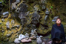 Natasha with the cairns in Oneonta Gorge