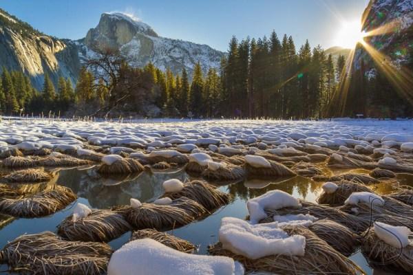Sunstar peeking into Yosemite Valley at sunrise   LotsaSmiles Photography