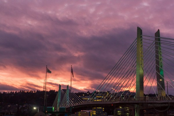 A fiery sunset sky behind Portland's Tilikum Crossing bridge | LotsaSmiles Photography