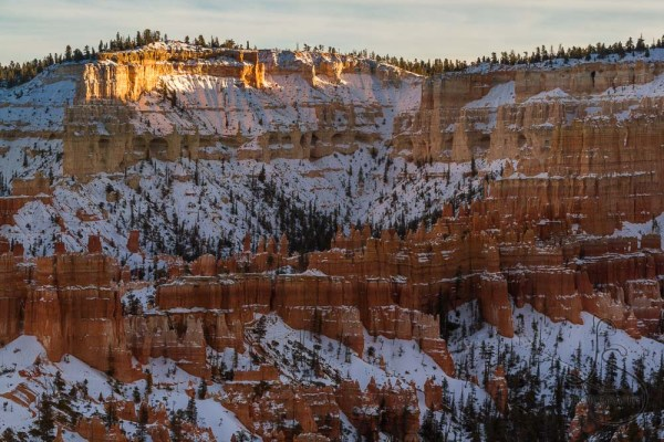 Snow-covered Bryce Canyon at sunset