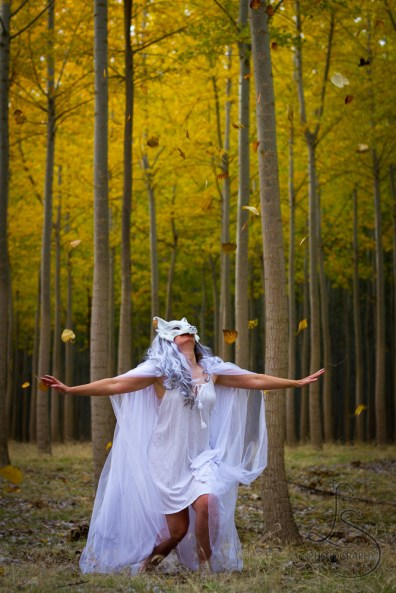 A friend dressed as a white wolf at Oregon's Boardman Tree Farm | LotsaSmiles Photography