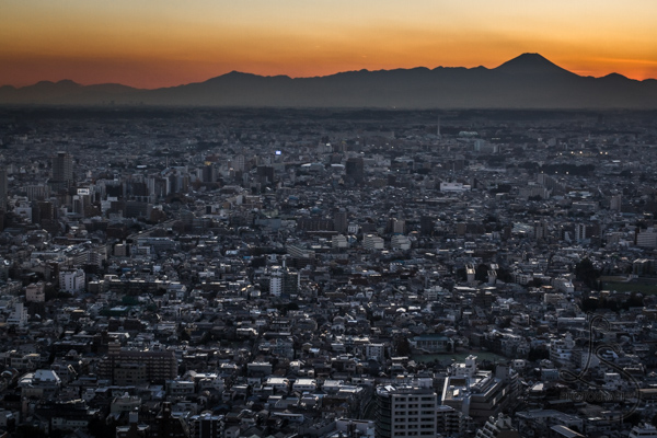 Sunset over Tokyo, with the silhouette of Mt. Fuji as a backdrop | LotsaSmiles Photography