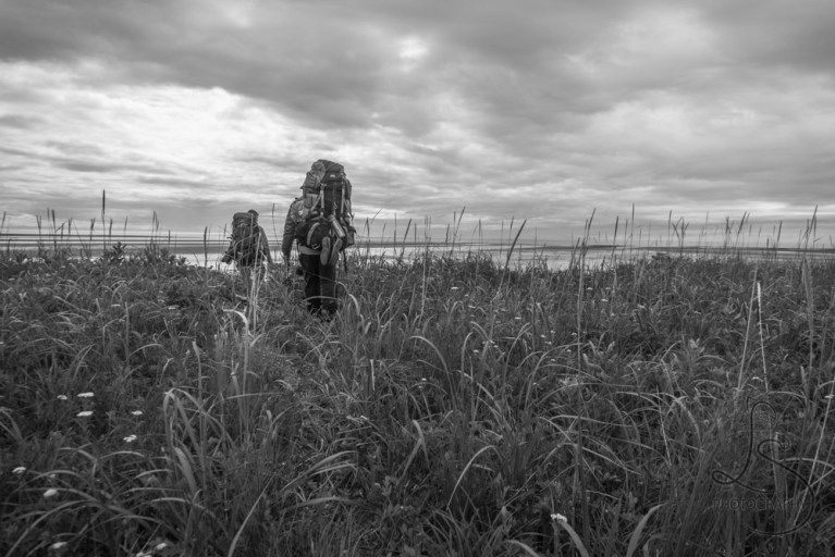 Two backpackers hiking through the sedge grass toward the beach, in monochrome   LotsaSmiles Photography