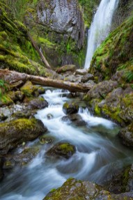 A waterfall of the Family Falls network winds itself through the Oregon forest