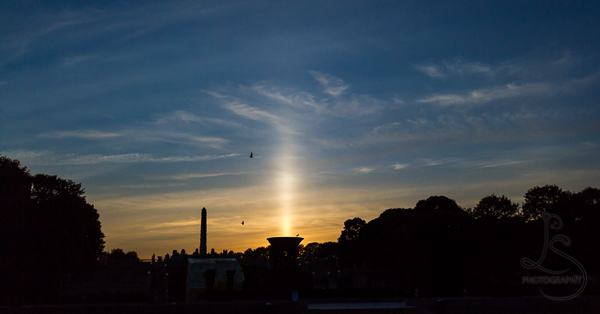 A light pillar behind the silhouette of Vigeland Park | LotsaSmiles Photography