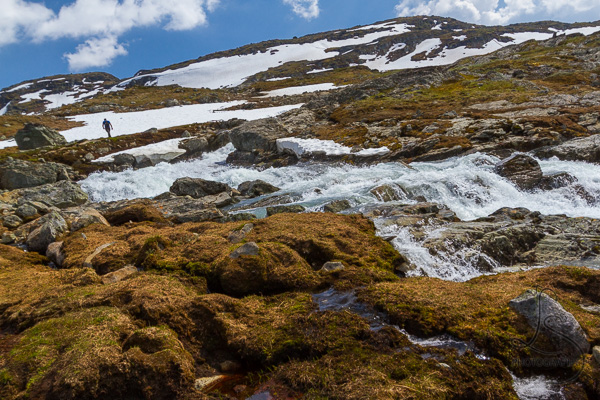 Creek running down a rocky tundra from the glacier above | LotsaSmiles Photography