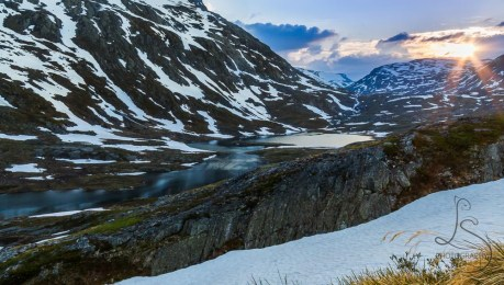 The sun sets late over the Norwegian landscape
