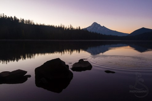 Mount Hood mirrored in Lost Lake in the early rays of sunrise | LotsaSmiles Photography