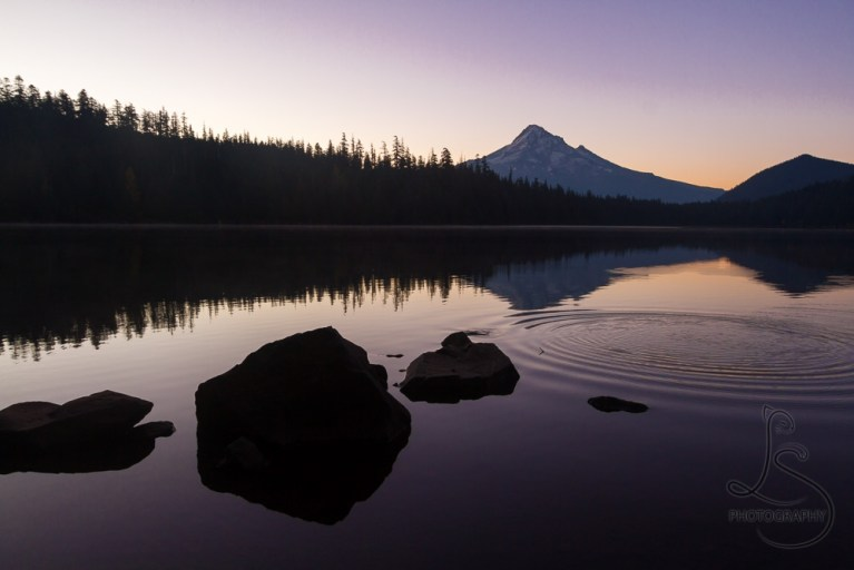 Mount Hood mirrored in Lost Lake in the early rays of sunrise   LotsaSmiles Photography