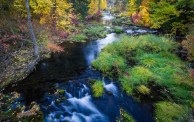 A beautiful creek runs amidst autumn colors and is easily missed from a local road