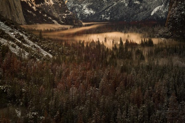 Evening mist descends on a wintery Yosemite Valley.