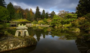 A tourou stone lantern adorns the edge of this pond in Seattle's Japanese Garden   LotsaSmiles Photography