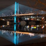 A lightrail crossing the car-free Tilikum Crossing in Portland, Oregon | LotsaSmiles Photography