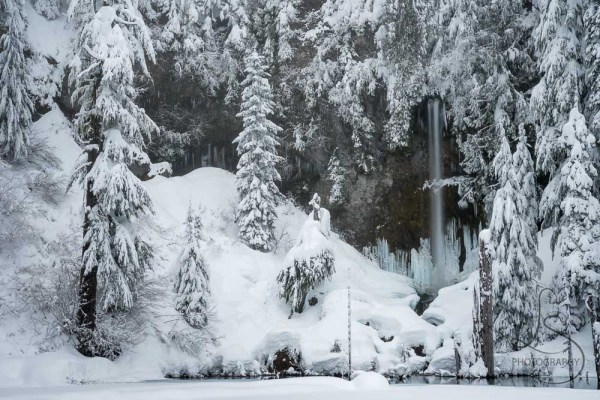 The waterfall at a snowy June Lake, reminiscent of a scene from Narnia   LotsaSmiles Photography