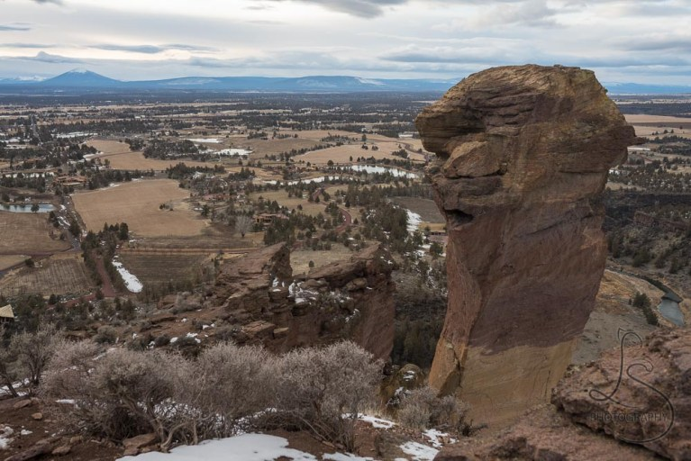 Monkey Face rock formation in Smith Rock State Park in Central Oregon   LotsaSmiles Photography