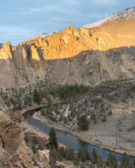 Sun hitting just the upper edge of the far ridge in Smith Rock State Park | LotsaSmiles Photography