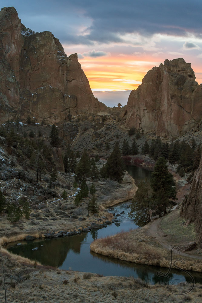 Sunset behind Smith Rock in Central Oregon   LotsaSmiles Photography