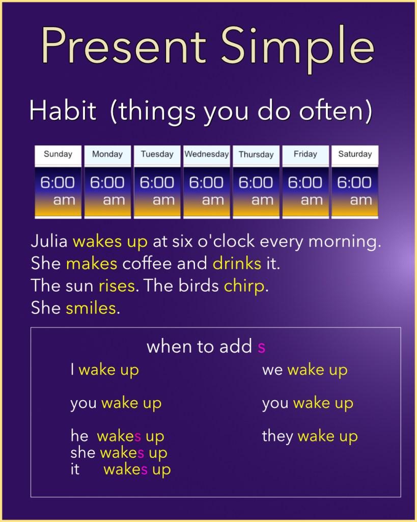 Present Simple - Simple Present - Habit - Wake up