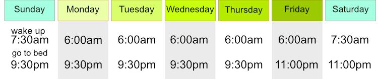 Present Simple - Weekly Sleep Schedule