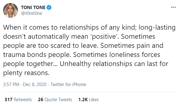 Long lasting relationships doesn't automatically mean positive