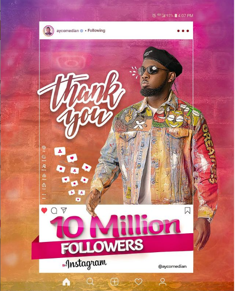 Ayo Makun Does Giveaway And Send Heartfelt Message To Fans As He Hits 10 Million Followers On Instagram