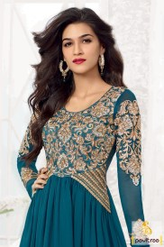 bollywood-actress-kriti-sanon-dark-cyan-anarkali-dress-online-Embroidery-work