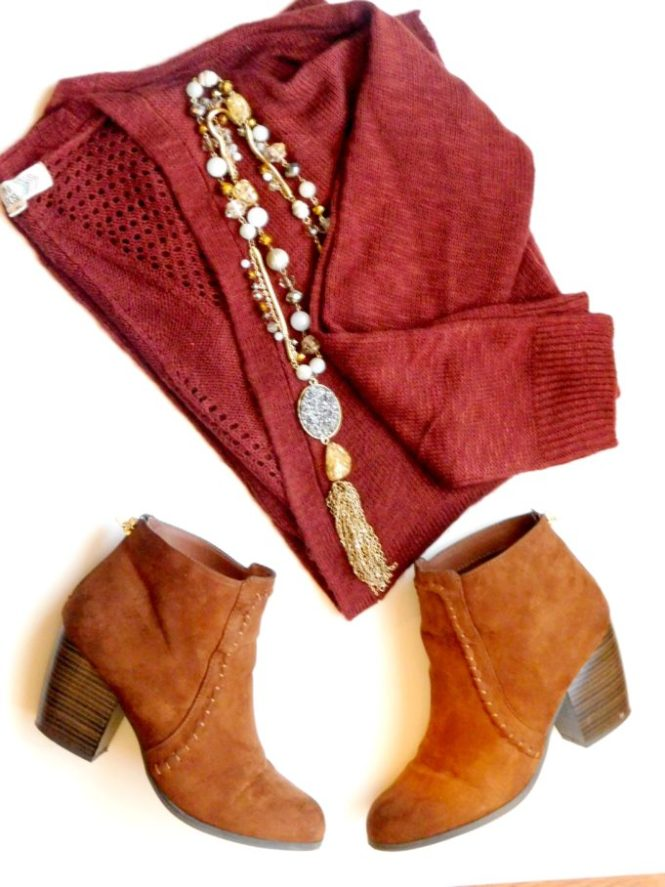 Fall Clothes - Pink Celebrity Sweater, Charlotte Russe Booties, New Direction Necklace