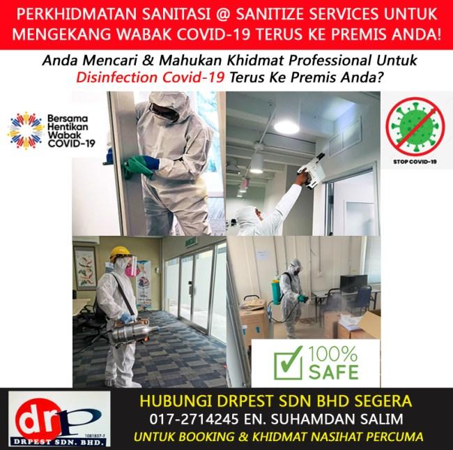 perkhidmatan khidmat semburan basmi kuman virus sanitasi covid 19 disinfection services sanitize services rumah pejabat office klinik bengkel hotel kilang sekolah tadika di bukit indah near me