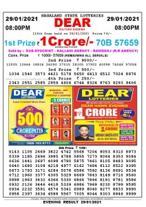 Lottery Sambad Live Result 8pm 29/01/2021 Evening Nagaland State Lottery Result Pdf Download