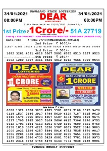 Lottery Sambad Live Result 8pm 31/01/2021 Evening Nagaland State Lottery Result Pdf Download