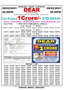 Lottery Sambad Live Result 8pm 08/02/2021 Evening Nagaland State Lottery Result Pdf Download