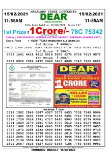 Lottery Sambad 11:55 am 15/02/2021 Morning Sikkim State Lottery Result Pdf Download