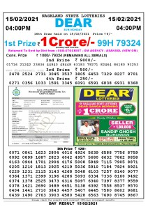 Lottery Sambad Live today 4pm 15/02/2021 Nagaland State Lottery Result Pdf File Download
