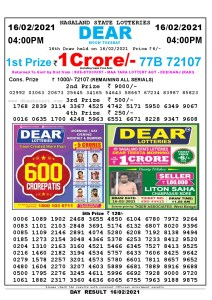 Lottery Sambad Live today 4pm 16/02/2021 Nagaland State Lottery Result Pdf File Download