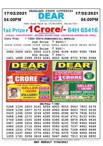 Lottery Sambad Live today 4pm 17/02/2021 Nagaland State Lottery Result Pdf File Download