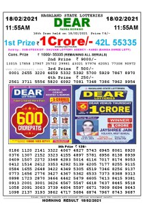 Lottery Sambad 11:55 am 18/02/2021 Morning Sikkim State Lottery Result Pdf Download