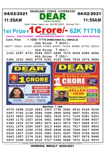 Lottery Sambad 1A1:55 am 04/02/2021 Morning Sikkim State Lottery Result Pdf Download