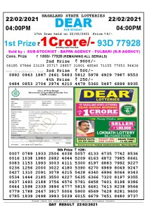 Lottery Sambad Live today 4pm 22/02/2021 Nagaland State Lottery Result Pdf File Download