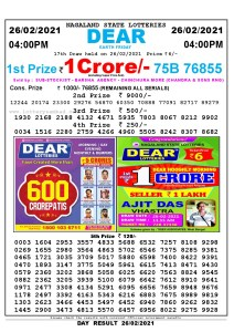 Lottery Sambad Live today 4pm 26/02/2021 Nagaland State Lottery Result Pdf File Download