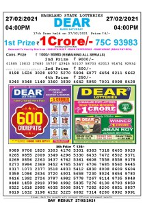 Lottery Sambad Live today 4pm 27/02/2021 Nagaland State Lottery Result Pdf File Download