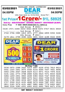 Lottery Sambad Live today 4pm 03/02/2021 Nagaland State Lottery Result Pdf File Download