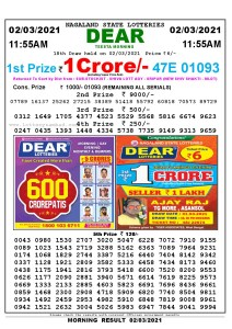 Lottery Sambad 11:55 am 02/03/2021 Morning Sikkim State Lottery Result Pdf Download
