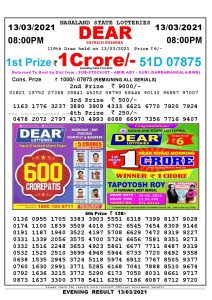 Lottery Sambad Live Result 8pm 13/03/2021 Evening Nagaland State Lottery Result Pdf Download